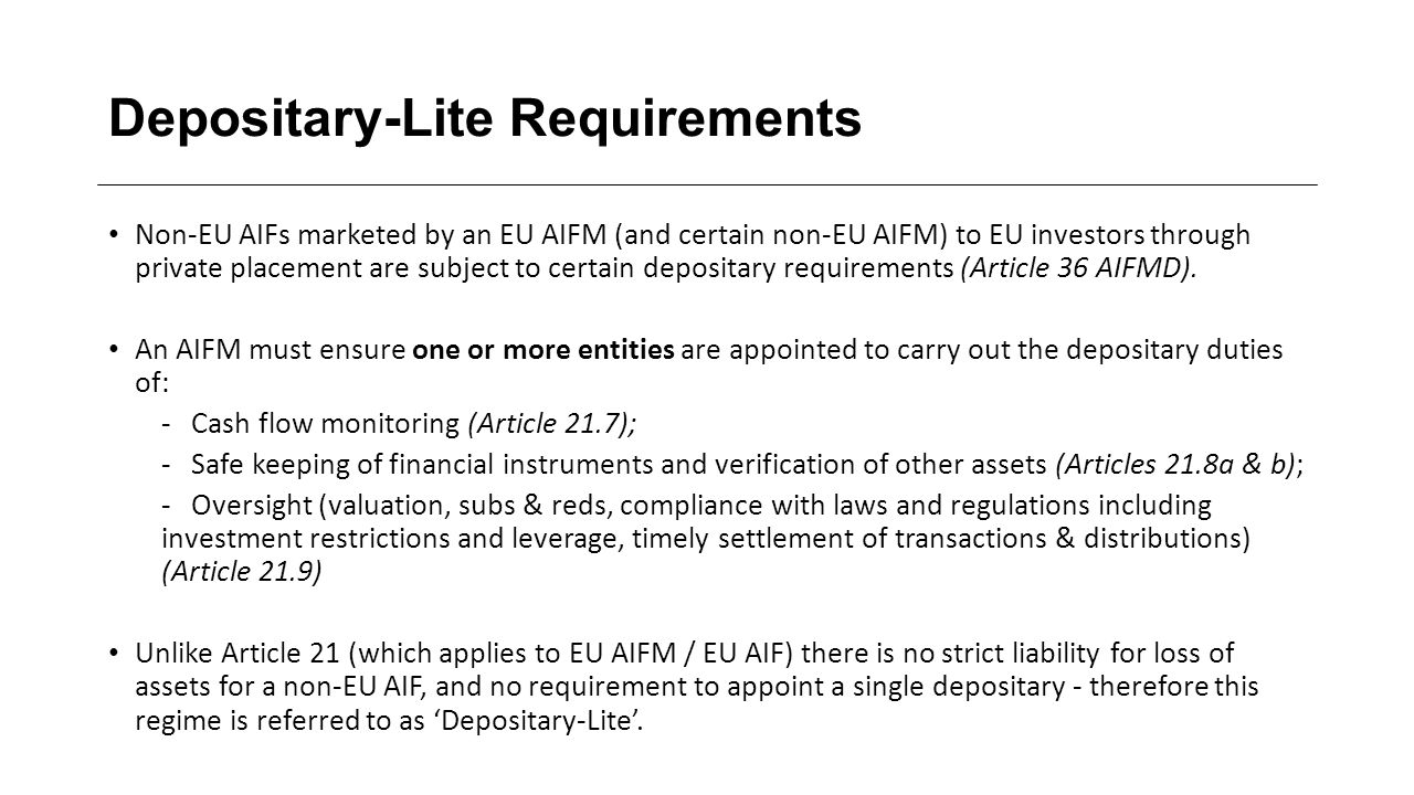 Depositary-Lite Requirements