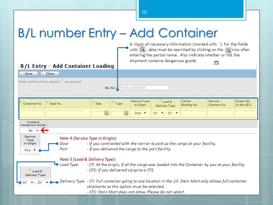 B/L number Entry – Add Container