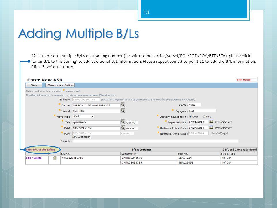Adding Multiple B/Ls