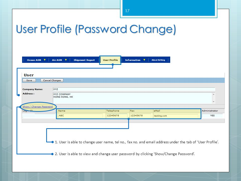 User Profile (Password Change)