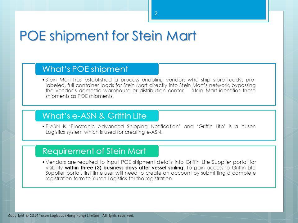 POE shipment for Stein Mart
