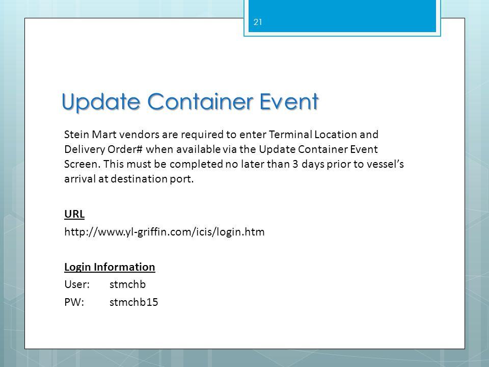 Update Container Event