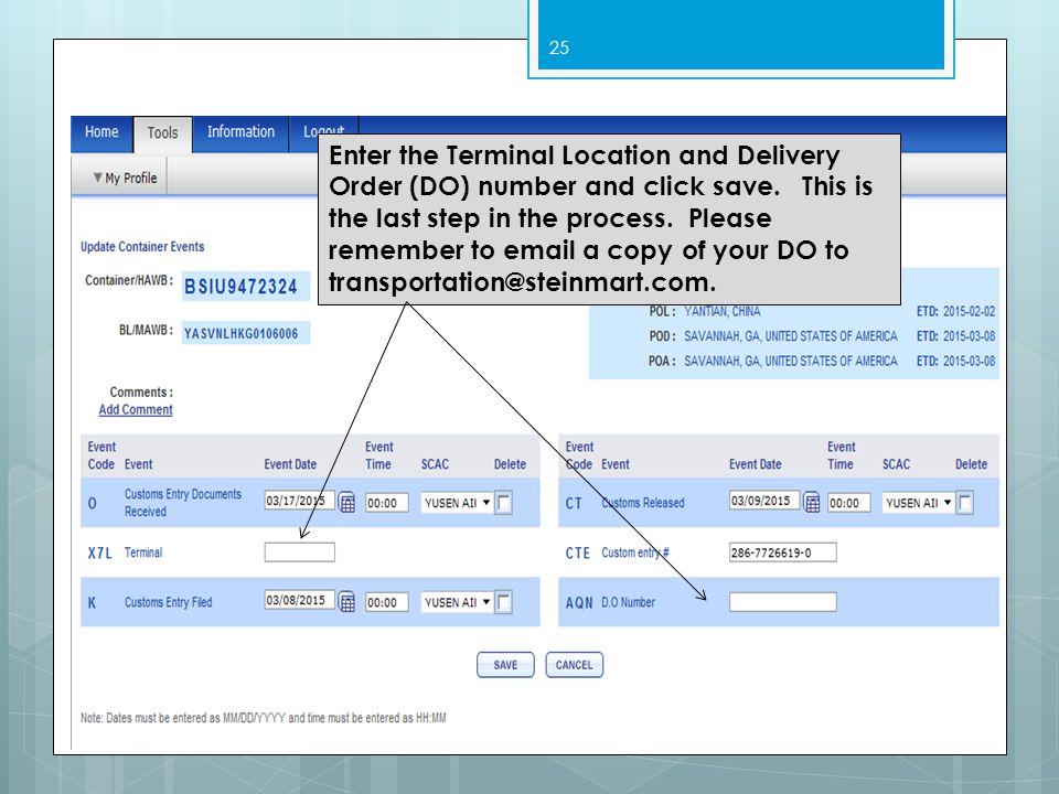 Enter the Terminal Location and Delivery Order (DO) number and click save.