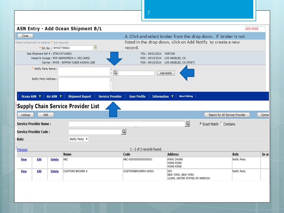 4. Click and select broker from the drop down