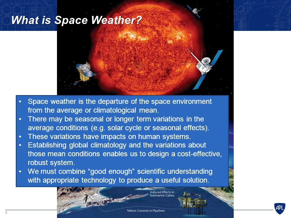What is Space Weather Space weather is the departure of the space environment from the average or climatological mean.