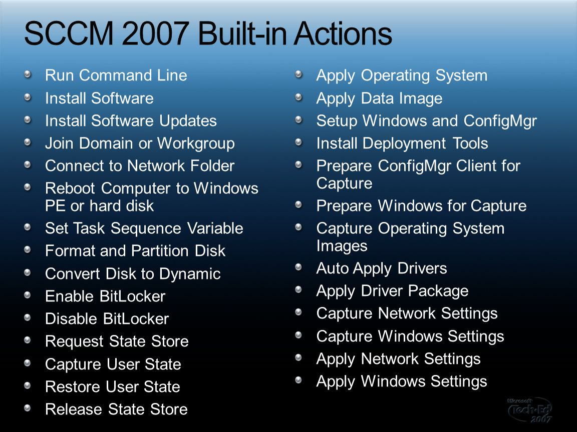 SCCM 2007 Built-in Actions Run Command Line Install Software