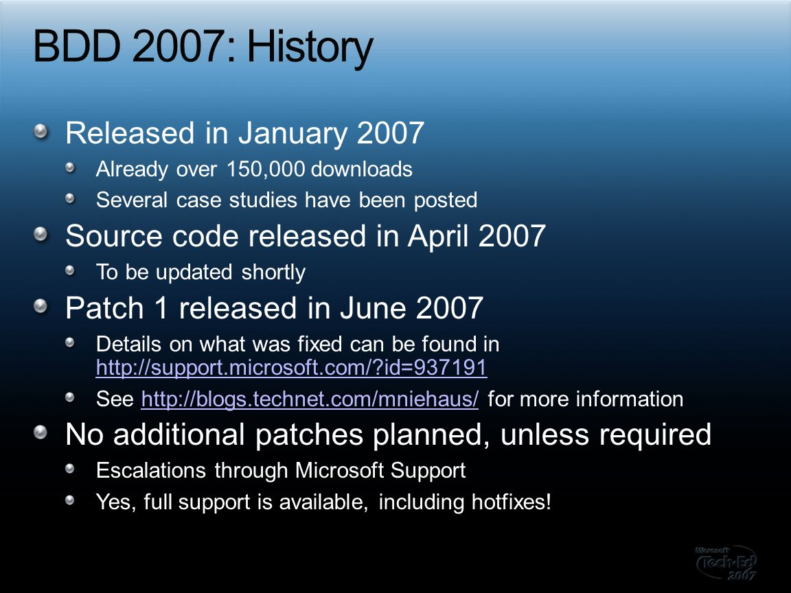 BDD 2007: History Released in January 2007