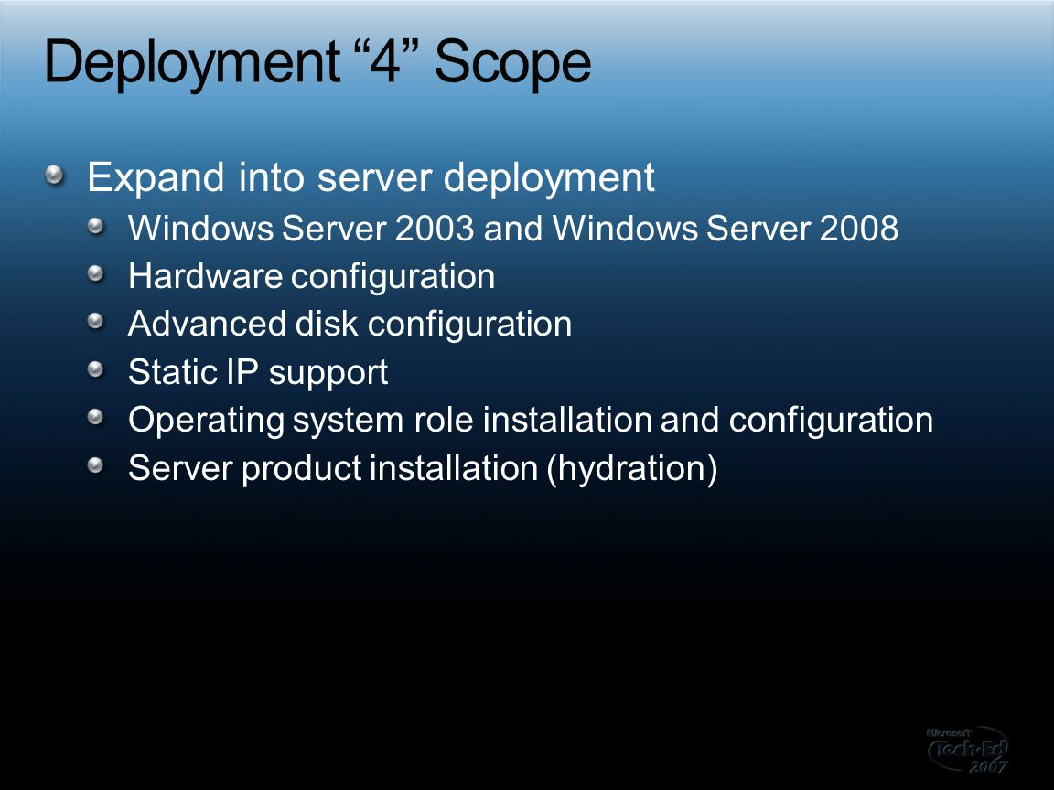 Deployment 4 Scope Expand into server deployment
