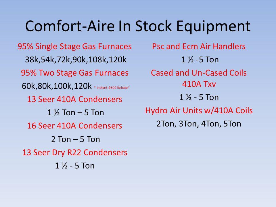 Comfort-Aire In Stock Equipment