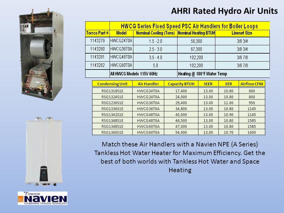 AHRI Rated Hydro Air Units