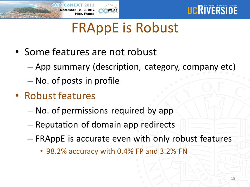 FRAppE is Robust Some features are not robust Robust features