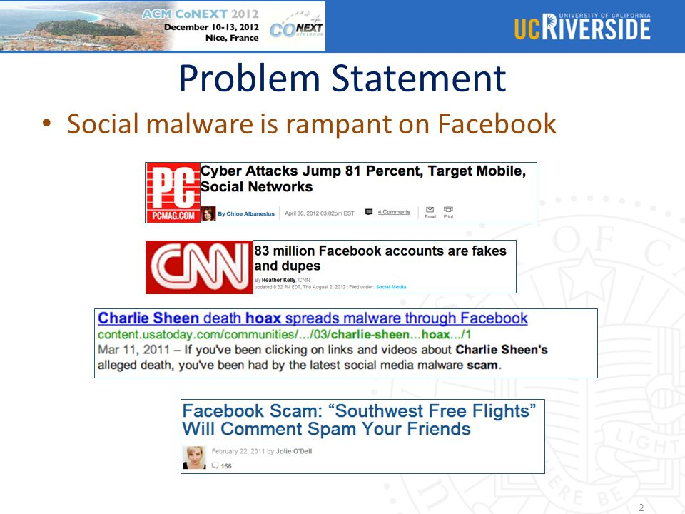Problem Statement Social malware is rampant on Facebook