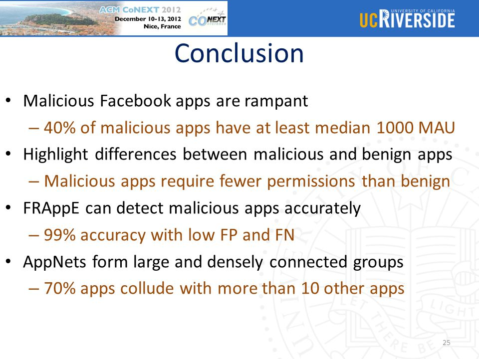 Conclusion Malicious Facebook apps are rampant