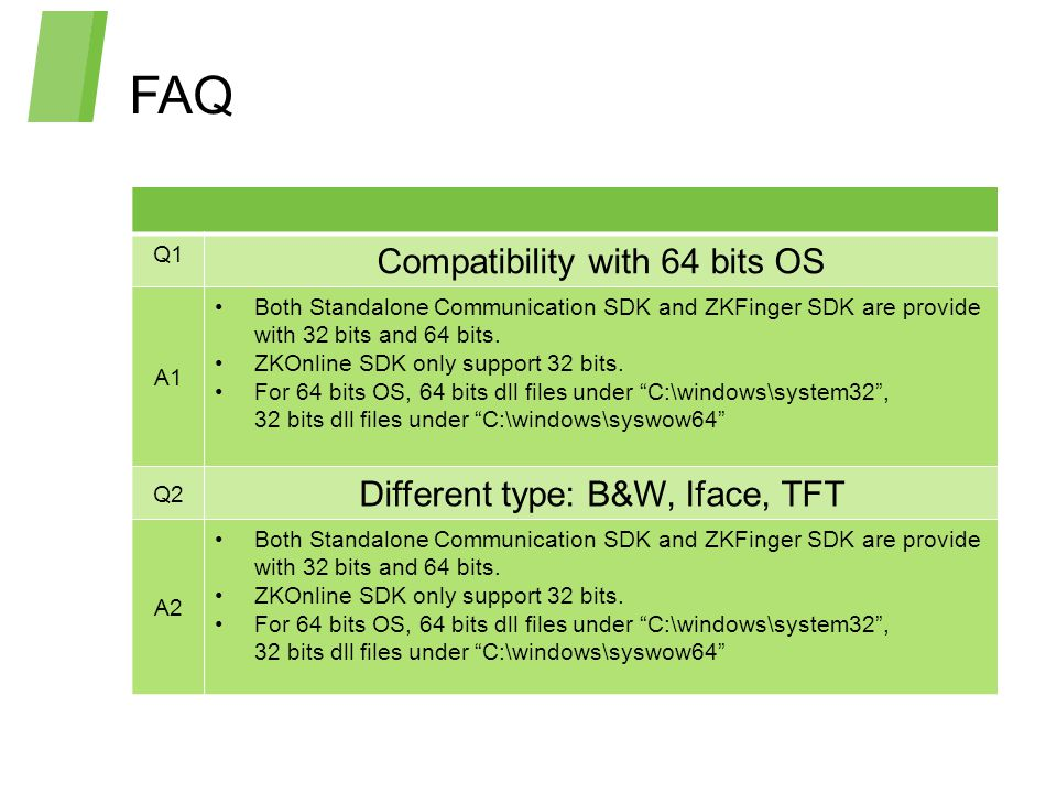 FAQ Compatibility with 64 bits OS Different type: B&W, Iface, TFT Q1