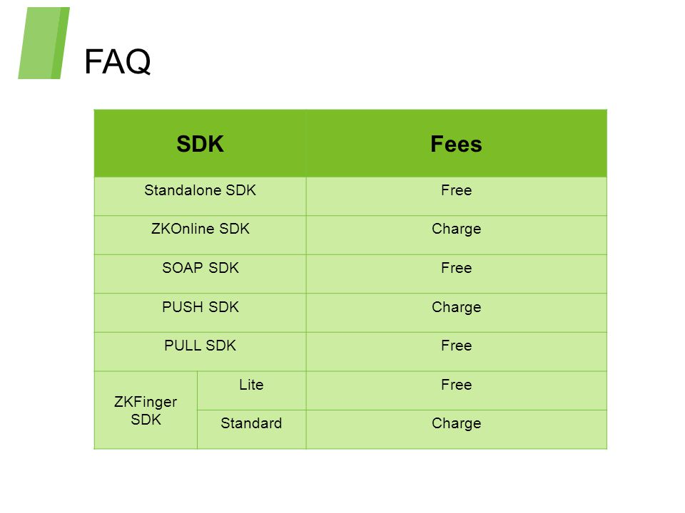 FAQ SDK Fees Standalone SDK Free ZKOnline SDK Charge SOAP SDK PUSH SDK