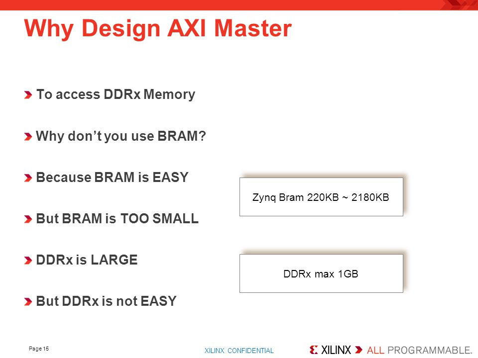 Why Design AXI Master To access DDRx Memory Why don't you use BRAM