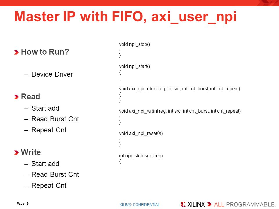 Master IP with FIFO, axi_user_npi