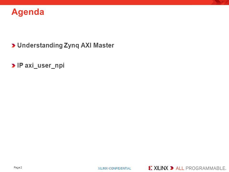 Agenda Understanding Zynq AXI Master IP axi_user_npi