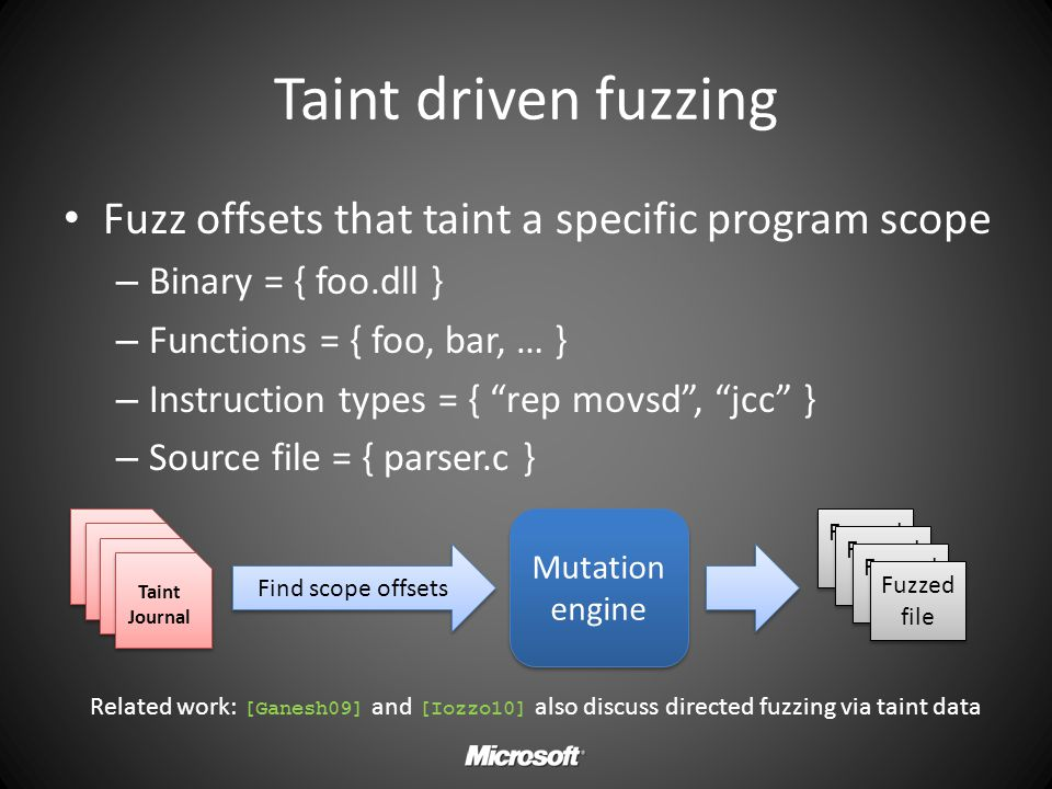 Taint driven fuzzing Fuzz offsets that taint a specific program scope