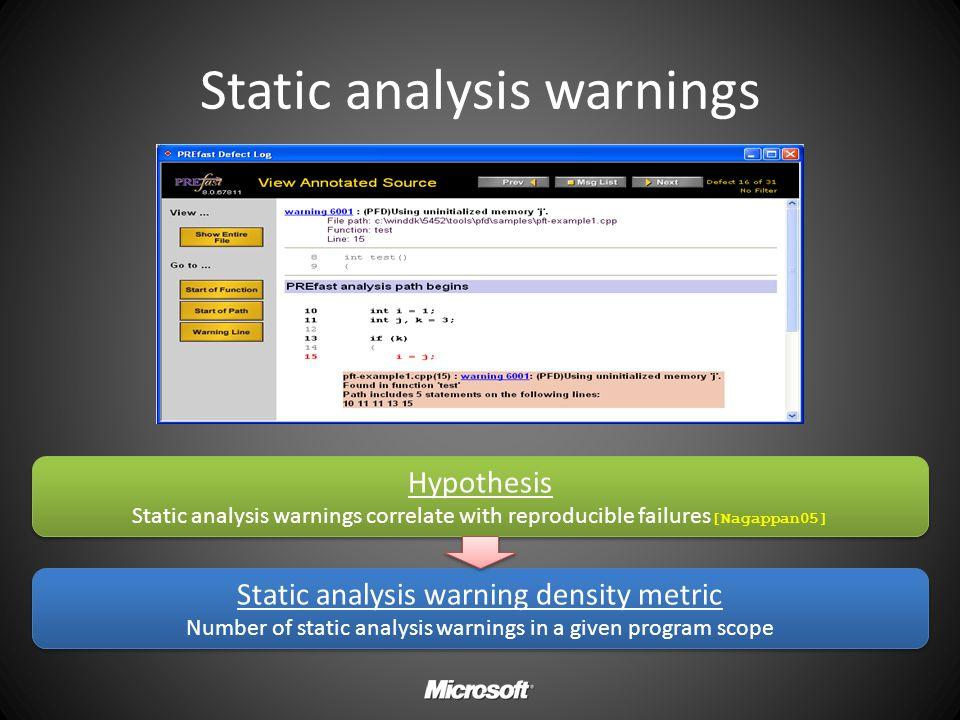 Static analysis warnings