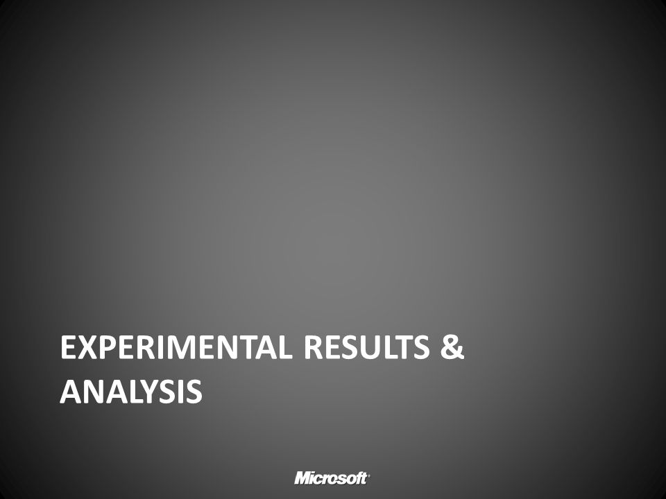 Experimental results & analysis