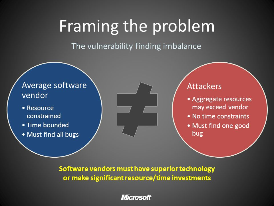 Framing the problem The vulnerability finding imbalance Attackers
