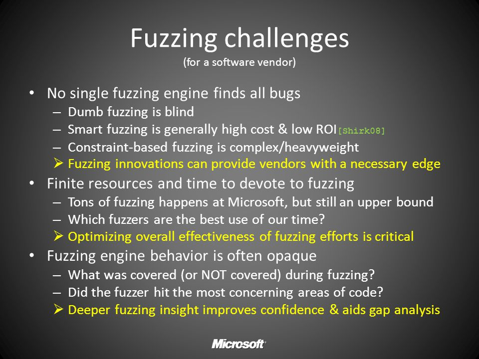 Fuzzing challenges (for a software vendor)