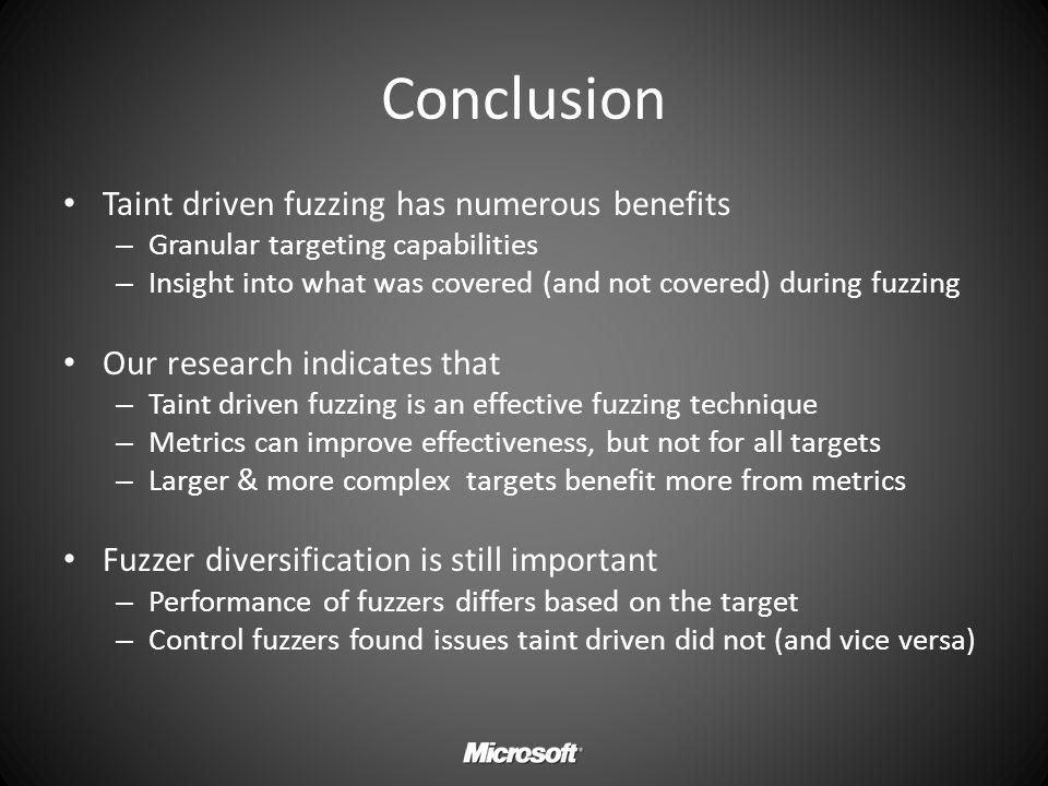 Conclusion Taint driven fuzzing has numerous benefits
