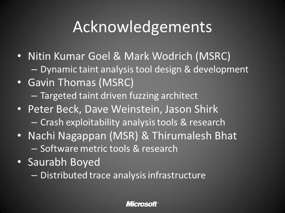 Acknowledgements Nitin Kumar Goel & Mark Wodrich (MSRC)