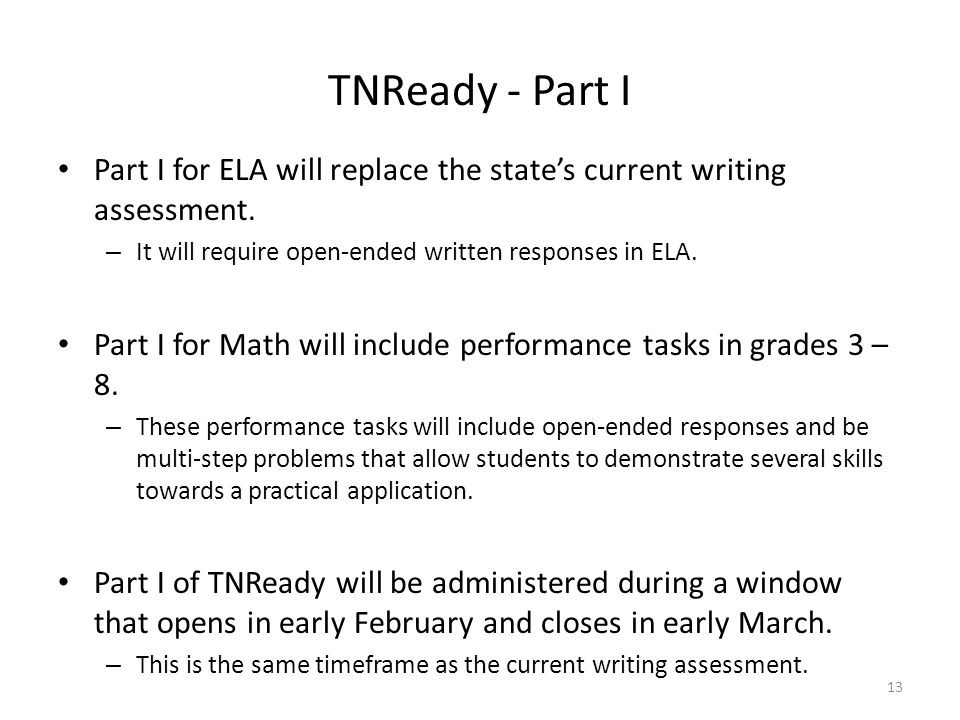 TNReady - Part I Part I for ELA will replace the state's current writing assessment. It will require open-ended written responses in ELA.