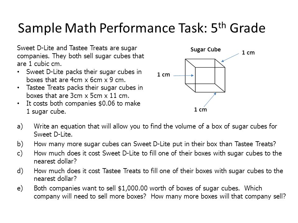 Sample Math Performance Task: 5th Grade