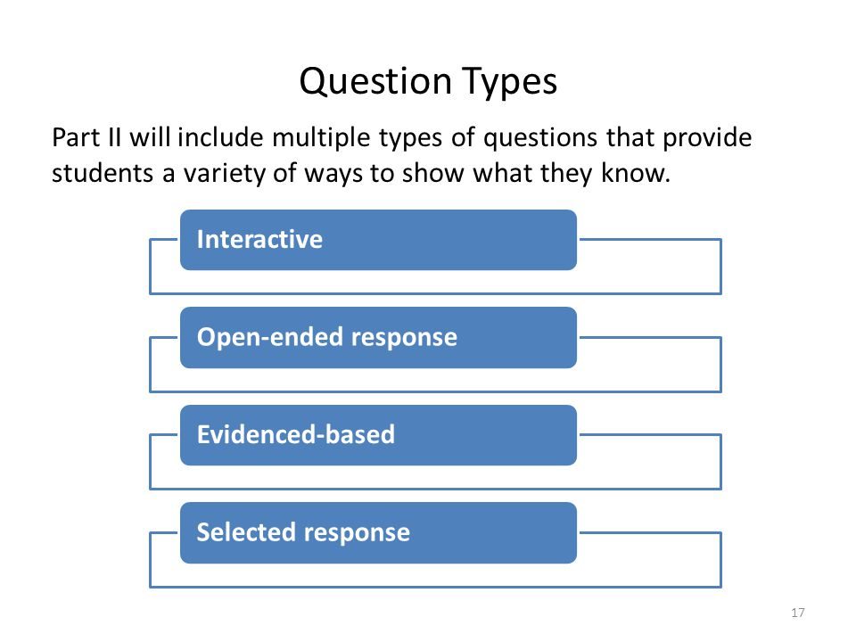 Question Types Part II will include multiple types of questions that provide students a variety of ways to show what they know.