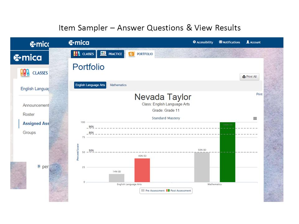 Item Sampler – Answer Questions & View Results
