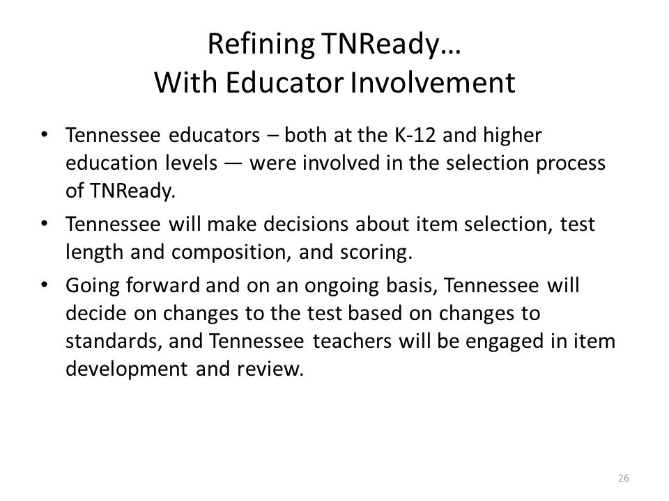 Refining TNReady… With Educator Involvement