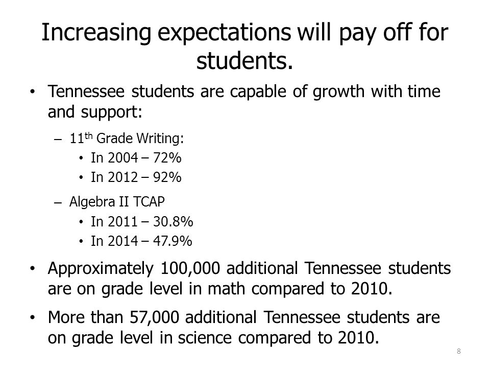 Increasing expectations will pay off for students.
