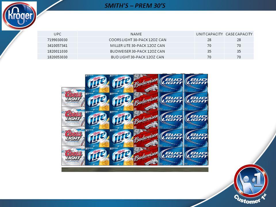 SMITH S – PREM 30'S UPC NAME UNIT CAPACITY CASE CAPACITY 7199030030