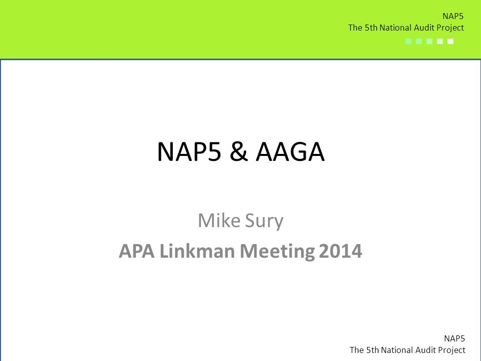 Mike Sury APA Linkman Meeting 2014