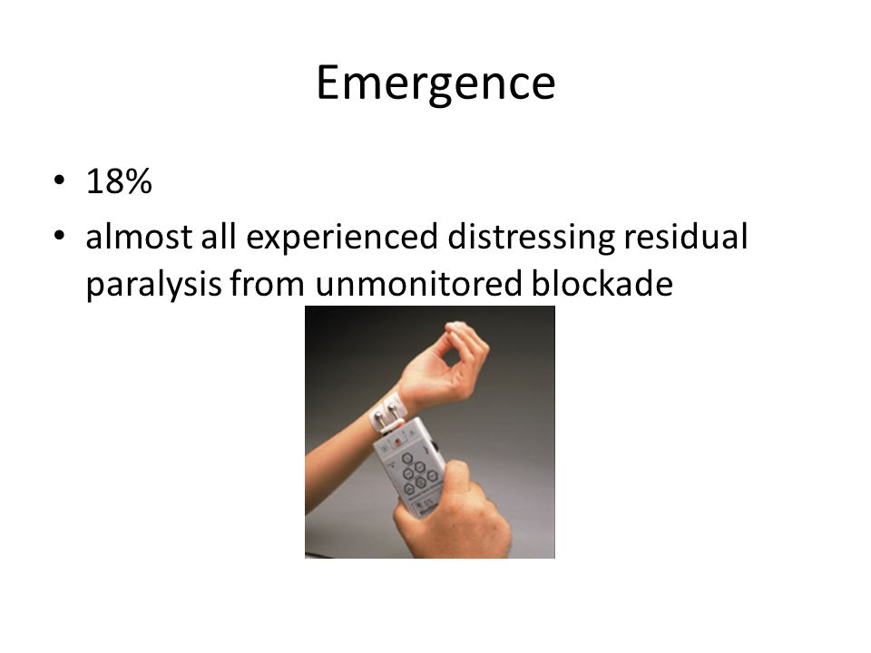 Emergence 18% almost all experienced distressing residual paralysis from unmonitored blockade