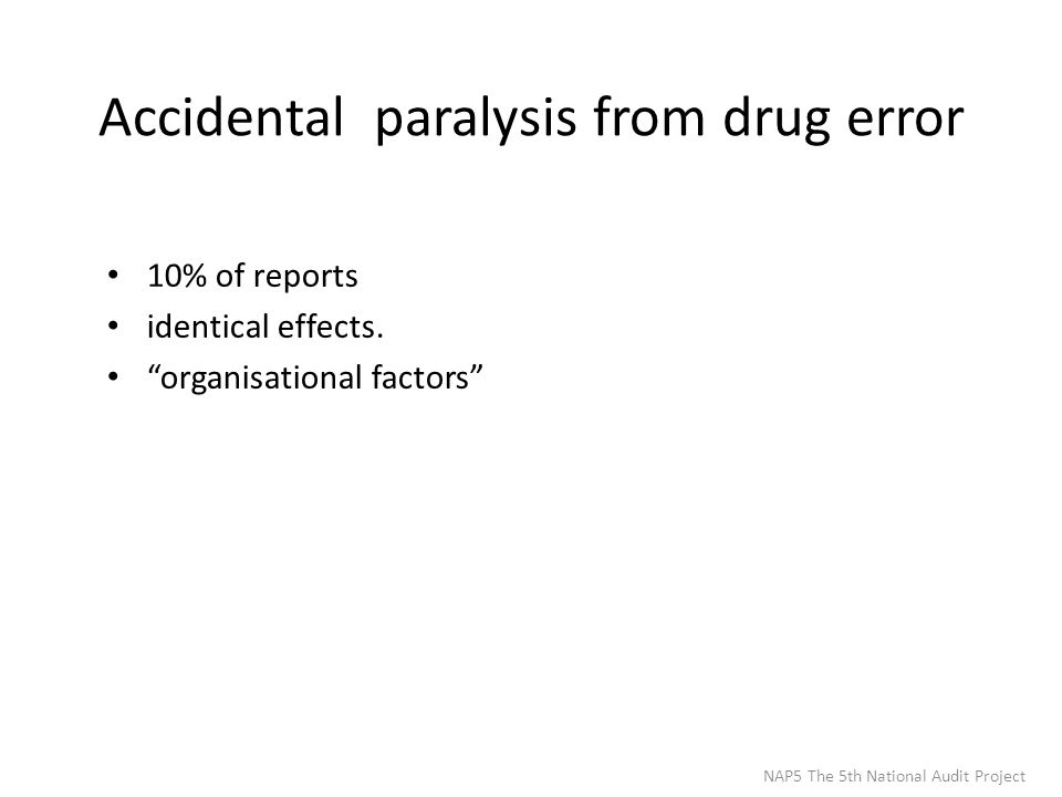 Accidental paralysis from drug error