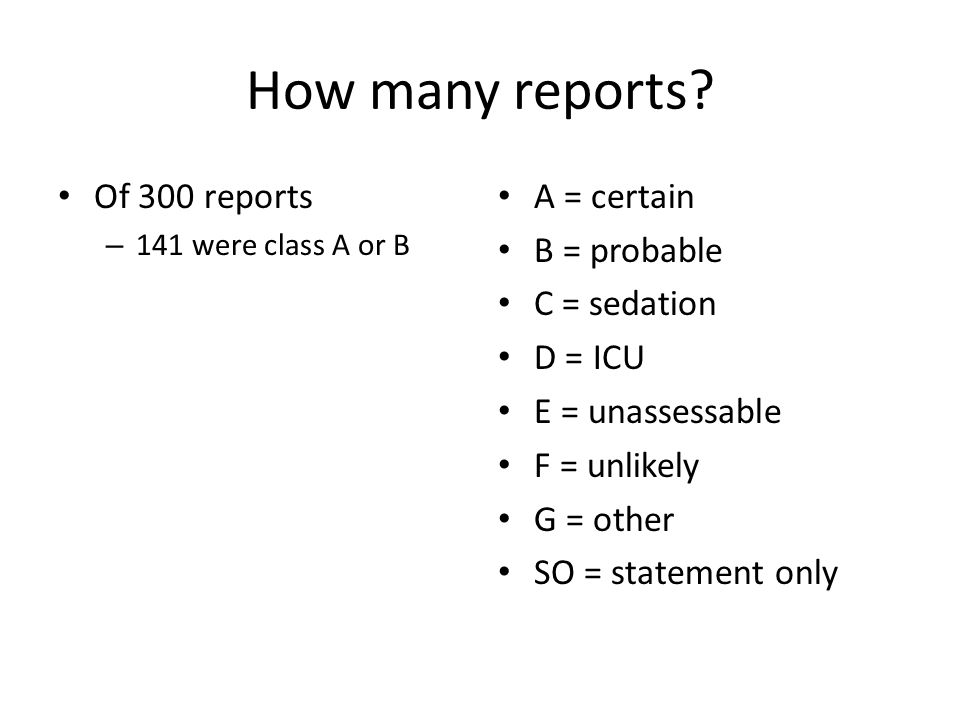 How many reports Of 300 reports A = certain B = probable C = sedation