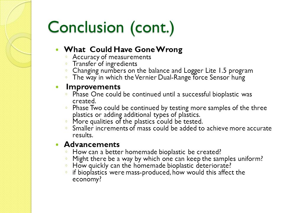 Conclusion (cont.) What Could Have Gone Wrong Improvements