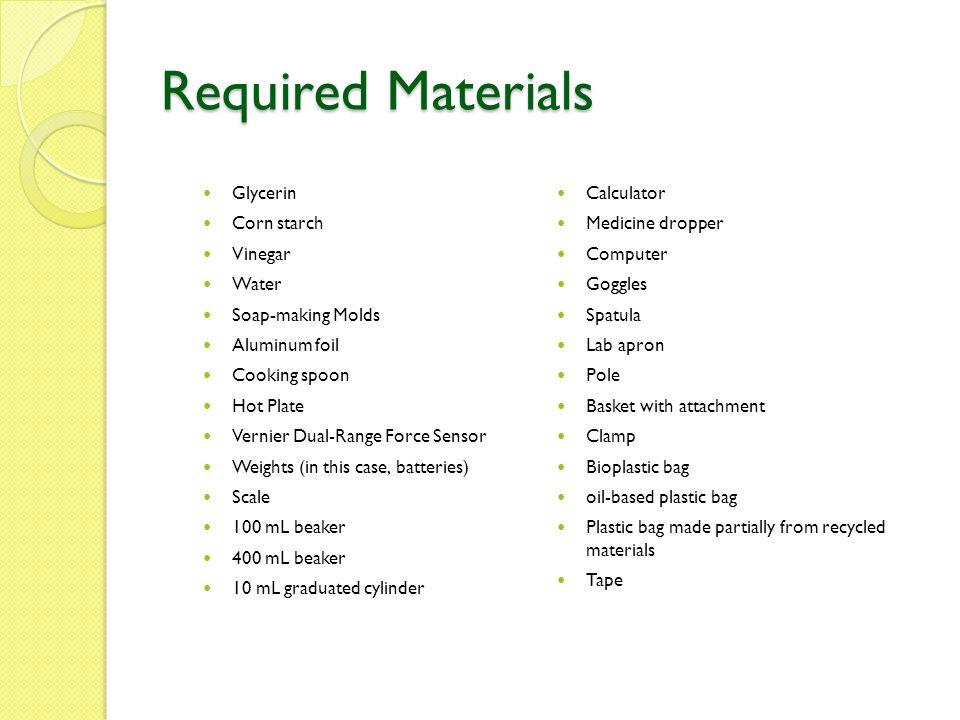 Required Materials Glycerin Calculator Corn starch Medicine dropper