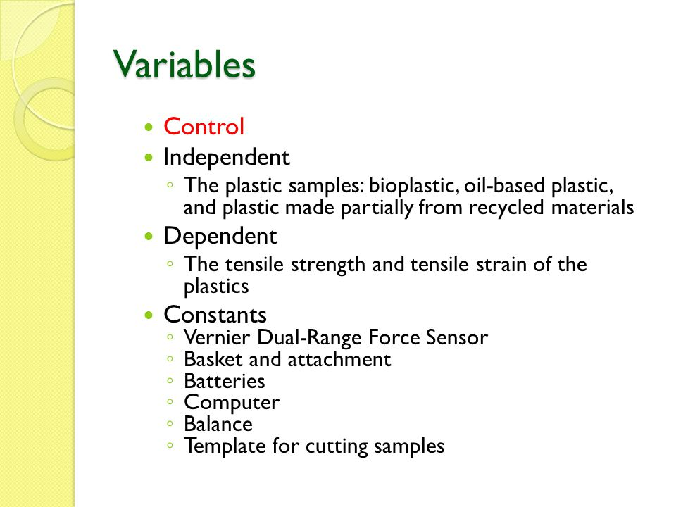 Variables Control Independent Dependent Constants
