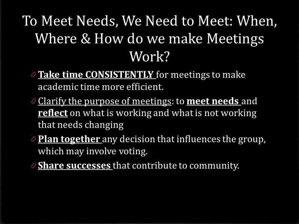 To Meet Needs, We Need to Meet: When, Where & How do we make Meetings Work