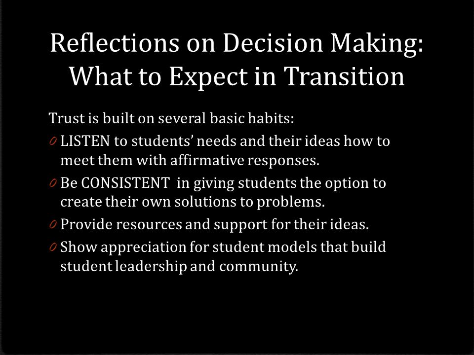 Reflections on Decision Making: What to Expect in Transition