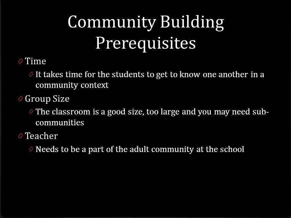 Community Building Prerequisites