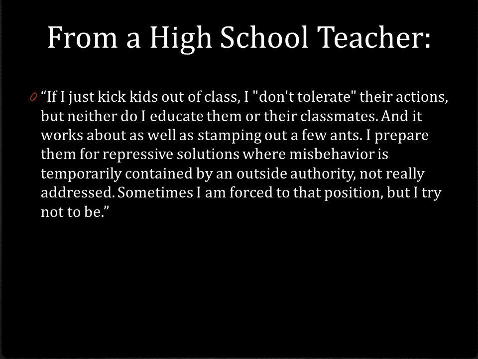 From a High School Teacher: