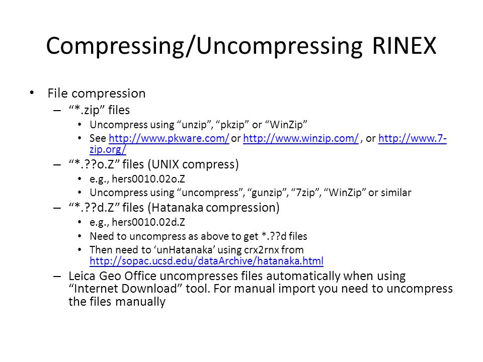 Compressing/Uncompressing RINEX