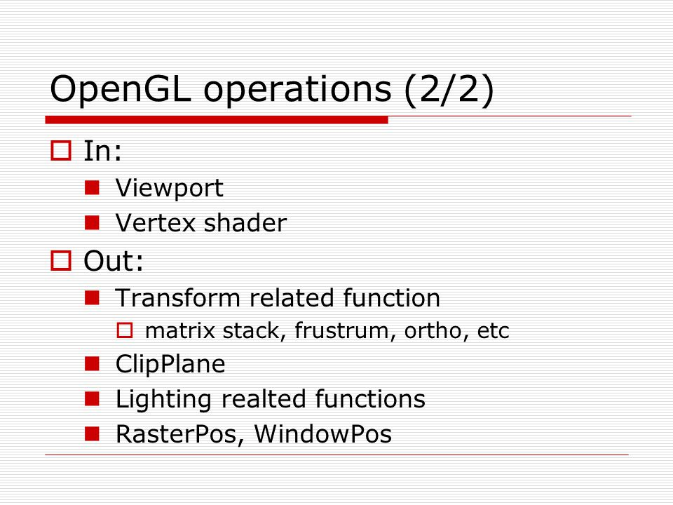 OpenGL operations (2/2) In: Out: Viewport Vertex shader