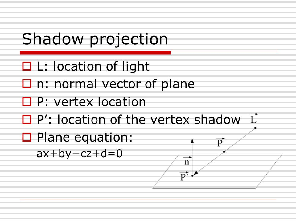 Shadow projection L: location of light n: normal vector of plane